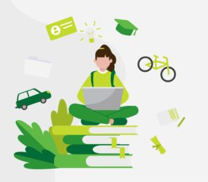 Cartoon of a girl with a notepad sat on a pile of books with transport and education images around her